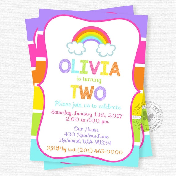 Rainbow Birthday Invitation Pink