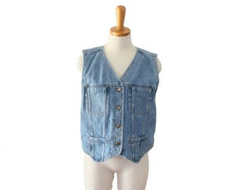 60% off sale // Vintage 90s Liz Claiborne Lizwear Jean Denim Shirt Vest - Sleeveless Crop Fit - Women M