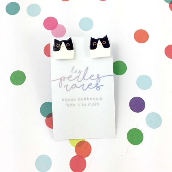 Small, cat, catlover, black, white, black and white, earrings, light, hypoallergenic, plastic, stainless stud, handmade, les perles rares