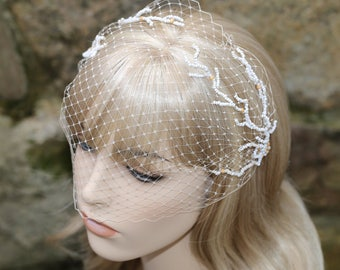 Beige Wedding Veil- Birdcage Veil- Beaded Veil- Short Veil- Bandeau Veil- Champagne Veil- Beach Wedding Veil