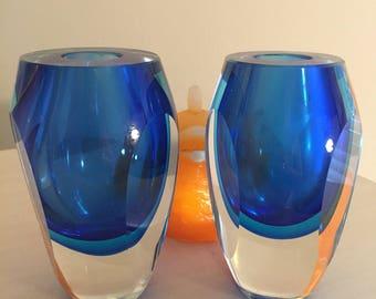 ART GLASS CANDLE Holders, Blue and Clear, Pontel, Handblown, Modern Art Glass at Modern Logic