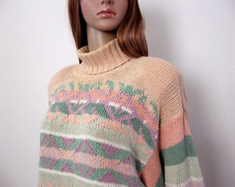 Vintage 1980s Turtleneck Sweater Soft Peach Pastel Long Sleeve Pullover / Medium to Large