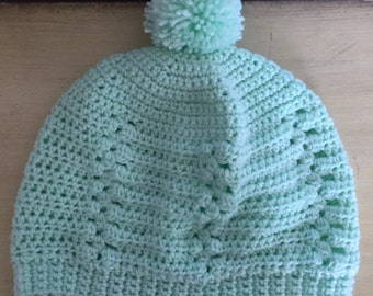 Beanie/Skullcap Ready to Ship - Mint w/Bobbles & Puff Ball