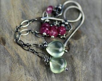Prehnite and Pink Tourmaline Gemstone Earrings. Oxidized Sterling Silver Earrings. Long Gemstone Dangle.