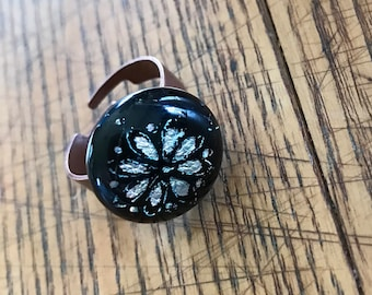 Fused Black Dichroic Daisy Ring