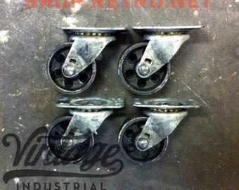 """2"""" Vintage Industrial Casters, Antique Top Mount 2TM"""