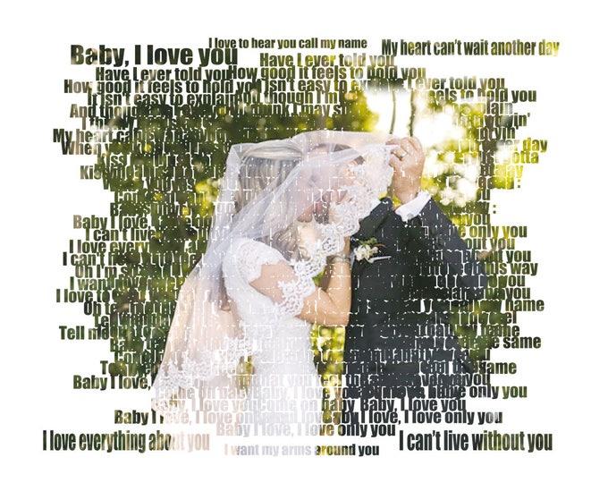 Word Art. Text Art. Custom Photo Gift Portrait On Canvas Wedding Vows Song Lyric Gift 16x20