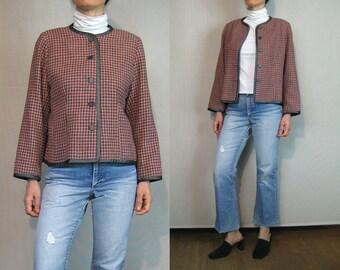 Salmon n Charcoal Check Wool Jacket / Checked Wool Crop Jacket