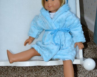 18 Inch Doll Clothes Three Piece Sleepwear Set Including Knit Nightshirt Matching Cap and Fluffy Blue Robe by SEWSWEETDAISY