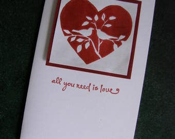 """Beatles inspired """"All you need is love"""" linoleum block print lovebirds card, Anniversary card, Birthday card, or just to say """"I Love You"""""""