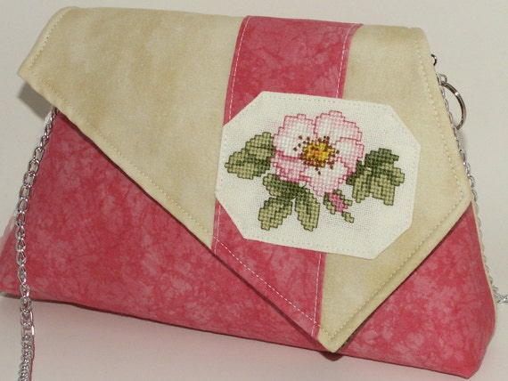 Handmade cotton shoulder bag, purse. Pink, coral, peach, green, cream. Wild Rose Artisan Bag by Lella Rae on Etsy