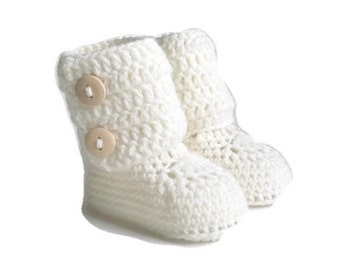 Tall Button Cuff Baby Booties in White Merino Wool