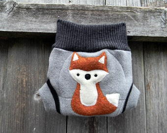 Upcycled Merino Wool Soaker Cover Diaper Cover With Added Doubler Gray/ Charcoal Gray With Fox Applique NEWBORN 0-3M Kidsgogreen