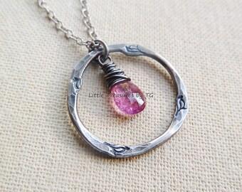 Pure silver Organic Circle Pink Tourmaline necklace. 999 pure silver jewelry. Silver jewelry. Silver necklace. Organic. Valentines day gift