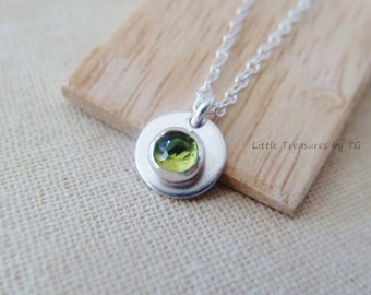 Delicate Birthstone charm necklace with Any Birthstone. Minimalist. Layering necklace. December birthstone. Turquoise. Peridot. Garnet