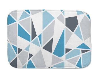 Minimalist bath mat, geometric, gray and blue bathroom decor, washable bath mat, non skid back