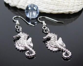 Sea horse earrings, surgical steel, nickel free earrings for sensitive ears, silver dangle earrings, tropical beach ocean earrings, gift
