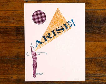 Arise! Feminist Pop Art Letterpress Print