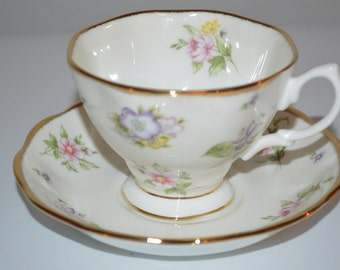 Royal Albert cup and saucer 100 years Spring Meadow tea cup Centennial 1920 s teacup
