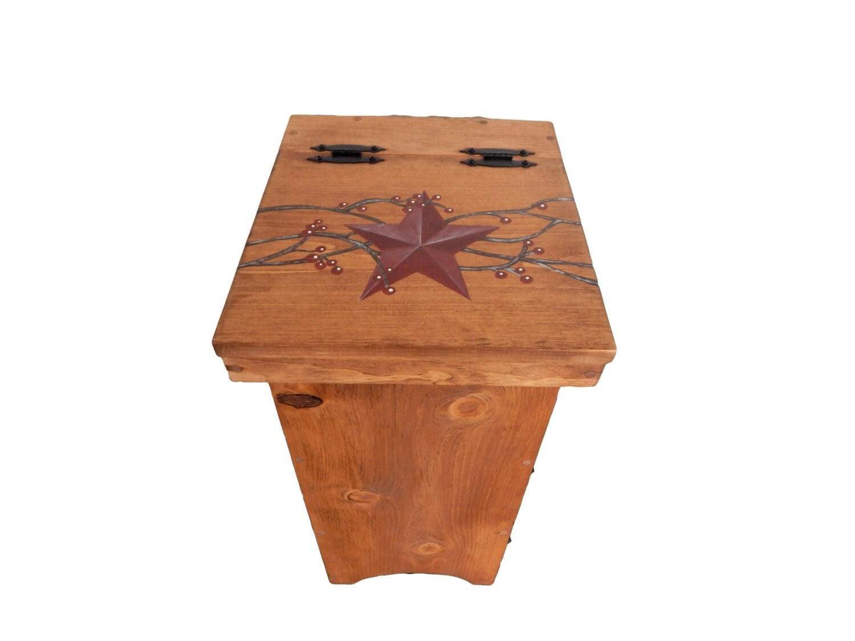 Trash bin wooden trash bin primitive decor farmhouse decor for Decorative items from waste