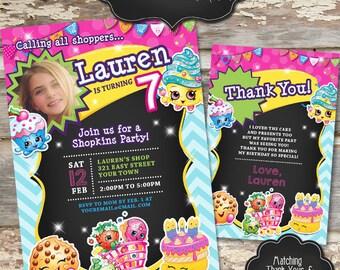 SHOPKINS Custom Photo Birthday Invitation - Digital File, You Print - 5x7 or 4x6 - Colors and Words Customizable