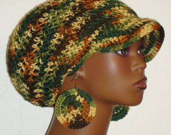 Autumn Mix Medium Brimmed Crochet Cap Hat with Disc Earrings Razonda Lee Razondalee