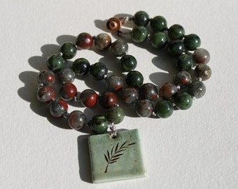 Moss Agate and Bloodstone Necklace with Fern Stoneware Focal