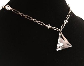 Art Deco Necklace, Vintage Jewelry, Art Deco Jewelry, Vintage Necklace, Pendant Necklace, Triangle Necklace, Hairpin Links, Czech Glass