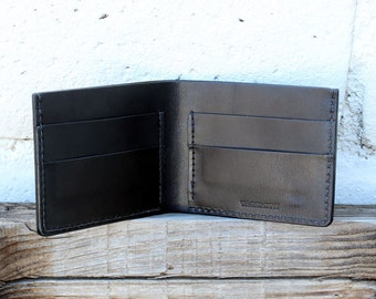 Mens Wallet, Mens Leather Wallet, Bifold Wallet, Billfold, Leather Billfold, Mens Billfold, Black Wallet, Red Stitch Wallet by Tagsmith