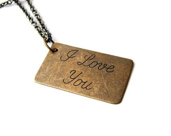 SALE I love you necklace . love letter jewelry . large cursive type Valentine's Day