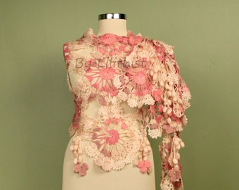 Wedding Shawl, Bridal Shrug Shawl Bolero, Crochet Shawl, Crochet Wrap, Pink Ivory Wedding Wrap, Bridal Shawl Wedding Cover Up, Flower Shawl