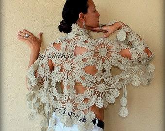 Champagne Wedding Bridal Shawl Wrap  Crochet Shawl, Flowers Shawl, Wedding Wrap, Bridesmaid Lace Shawl, Bridal Cover Up, Wedding Shawl
