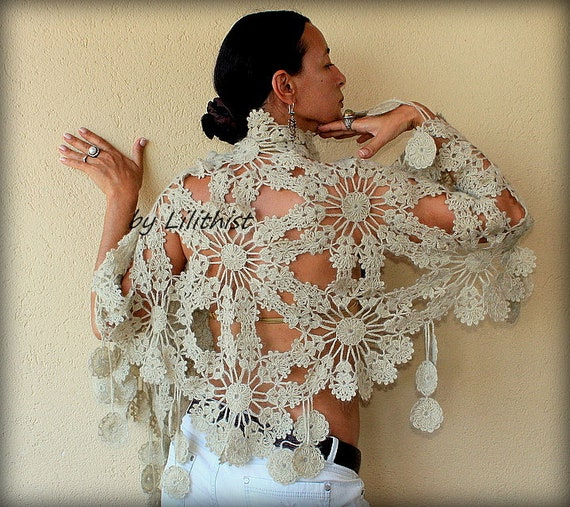Champagne Wedding Bridal Shawl Wrap  Crochet Shawl, Flowers Shawl, Wedding Wrap, Bridesmaid Lace Shawl, Bridal Cover Up, Wedding Shawl
