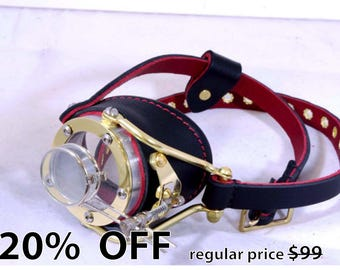 Steampunk Goggles Victorian Theatrical Brass Goth Cosplay Monocle BLK  - Exclusively from Steampunkdesign