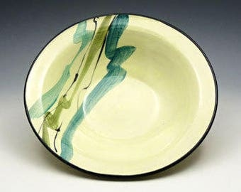 Yellow & Turquoise Ceramic Serving Bowl with Hand Painted Brushed Design - Wheel Thrown One of a Kind