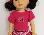 """14"""" Cat Shirt and Skirt Set fits Wellie Wisher Doll"""