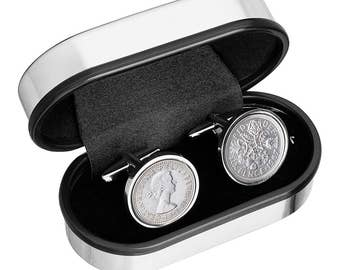62nd Birthday gift Idea - 1955 Old English sixpence Cufflinks - Includes presentation box - 100% satisfaction - 3 day delivery option