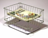 Vintage Double Tiered Wire Basket Letter Tray, File Baskets - circa 1940's