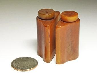 Vintage Butterscotch Bakelite Salt & Pepper Shakers - circa 1930's