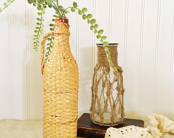 Vintage Bottle-Wicker Bottle-Rattan Bottle-Demijohn