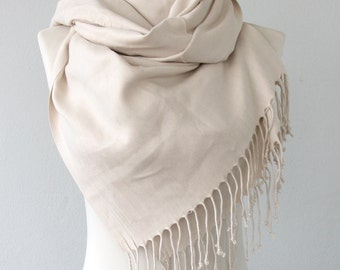 Bridal pashmina shawl eggshell white pashmina scarf bridesmaid shawl wedding gift bridesmaids gift thick pashmina scarf gift for her