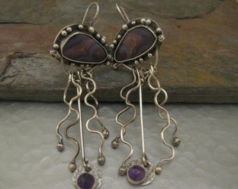 Agua Nueva Agate and Amethyst sterling Silver Dangle Earrings
