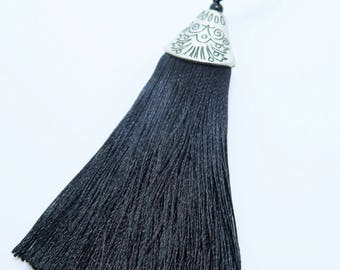 Black Silk Tassel, Antique Silver Cap Tassel, Large Black Tassel, Black Tassel, 3 inches, Diy Crafts, Zardenia, LST1