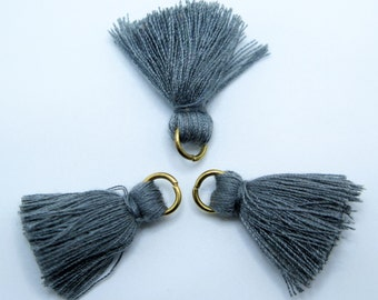 Small Cotton Jewelry Tassels with Matching Binding and Gold Plated Jump Ring - Dark Gray Tassels - 3 pcs - Approx 25mm - TSL53