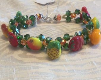 Vintage Glass Fruit Buttons and Crystal Tutti Fruiti Bracelet Lemon Raspberry Orange Lime Pear Pineapple Strawberry