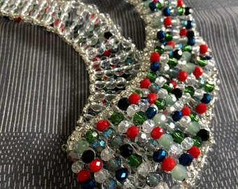 Colorful crystal beads choker necklace