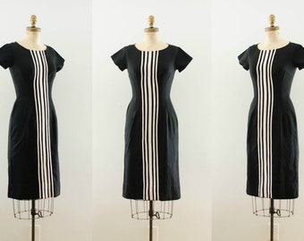 Vintage 1950s Wiggle Dress - 50s Fitted Dress - Racer Girl Dress
