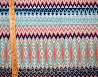 Aztec jersey knit fabric stretch material stretchy chevron tribal zig zag White light orange peach coral beige blue By The Yard Indian