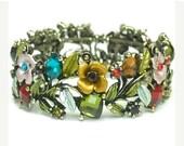 Vintage 1970s Hinged Cuff Bracelet - Wide Multicolor Rhinestone Cuff - Roses, Leaves - Crystal Cuff - Boho Chic - Hippie - Summer Garden