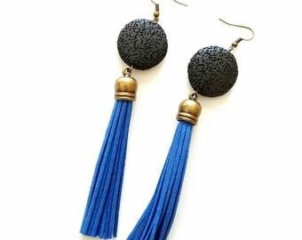 Bright blue tassel earrings- bohemian earrings- lava jewelry
